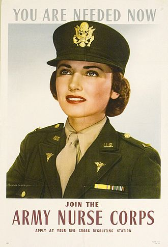 """Psychiatric and mental health nursing in the United States Army - """"Join the Army Nurse Corps"""" picture, circa June 1943"""