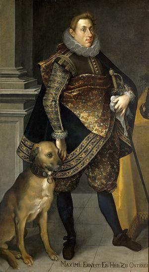 Archduke Maximilian Ernest of Austria - Archduke Maximilian Ernest with a hunting dog, oil in canvas by Joseph Heintz the Elder, 1604.