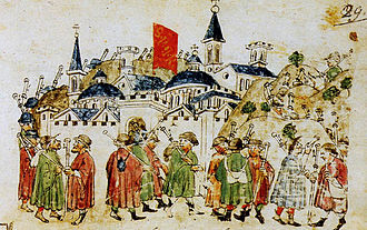 Borgo (rione of Rome) - A contemporary miniature portraying  pilgrims reaching Rome during the Jubilee of 1300. They are approaching the Leonine City from N (Prati di Castello). The hills in the background are (from right to left) Monte Mario, Vatican and Gianicolo.