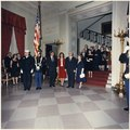 Judicial Reception. Color Guard, President Kennedy, Mrs. Kennedy, Chief Justice of the Supreme Court Earl Warren... - NARA - 194233.tif