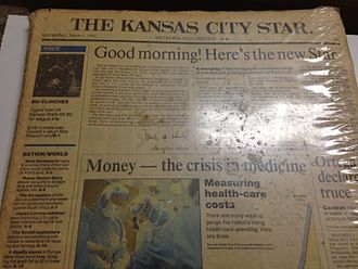 First morning edition of the Kansas City Star on March 1, 1990 that came in a special package including the last edition of the Kansas City Times and the last afternoon edition of the Star. KC Star First.JPG