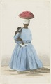 KITLV - 36B234 - Borret, Arnoldus - Kotomisi with a child on her hip and a basket on her head, Surinam - Water colour - Circa 1880.tif