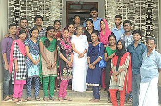 K. R. Gowri Amma - K R Gowri Amma with a group of young volunteers of the Kerala Sasthra Sahithya Parishad at her residence in Alappuzha (May 1, 2015)