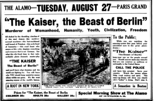 The Kaiser, the Beast of Berlin - Half-page newspaper ad for the film. Tells viewers to call police if people around them are doing things out of the ordinary.