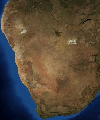 Kalahari Desert - A satellite image of the Kalahari by NASA World Wind