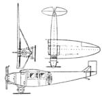 Kalinin K-1 3-view Le Document aéronautique April,1927.png