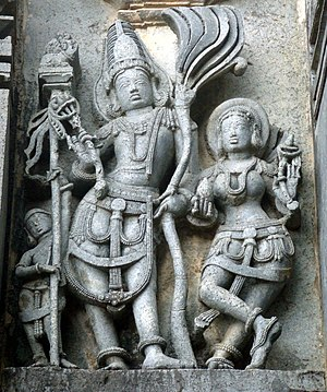 Rati - Kama (left) with Rati on a temple wall of Chennakesava Temple, Belur