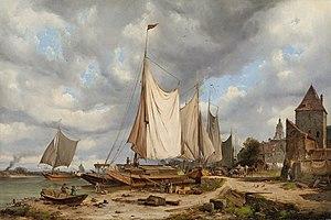 Karl Julius von Leypold - Hafenansicht mit Lastkähnen.jpg