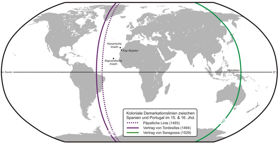 Karte Portugiesisch-Spanischer Verträge