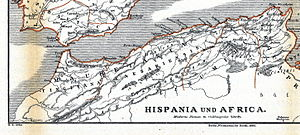 Siga - Map showing Siga east of Rusaddir (actual Melilla)