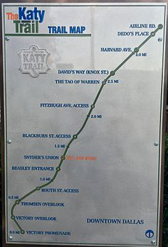 Katy Trail (Dallas) - Wikipedia on west village dallas texas map, trinity river dallas texas map, katy trail mileage map, fair park dallas texas map, katy trail mo map, northpark mall dallas texas map, highland park dallas texas map, downtown dallas texas map, southern methodist university dallas texas map, american airlines center dallas texas map, uptown dallas texas map, preston hollow dallas texas map,