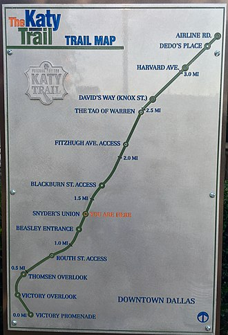 Katy Trail (Dallas) - Sign mapping the Katy Trail