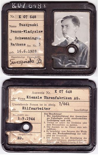 Kienzle Uhren - Kienzle Uhren factory ID card, from 1944, of 16 years old forced labor worker from Poland