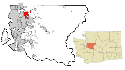 Location of Redmond within King County, and King County within Washington.