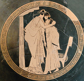 Societal attitudes toward homosexuality - Male couple (erastes and eromenos) kissing (Attic red-figured cup, ca. 480 BC)