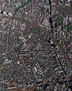 東京都新宿区北新宿の航空写真(2009年4月27日撮影)