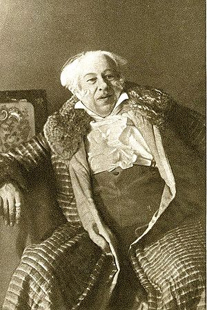 "Unit of action -  Rehearsal work on ""bits"" (or ""units"") of action to explore the dramatic possibilities of a script was propounded by Konstantin Stanislavsky (here seen in the role of the conservative patriarch Famusov in Alexander Griboyedov's satirical verse comedy Woe from Wit)"
