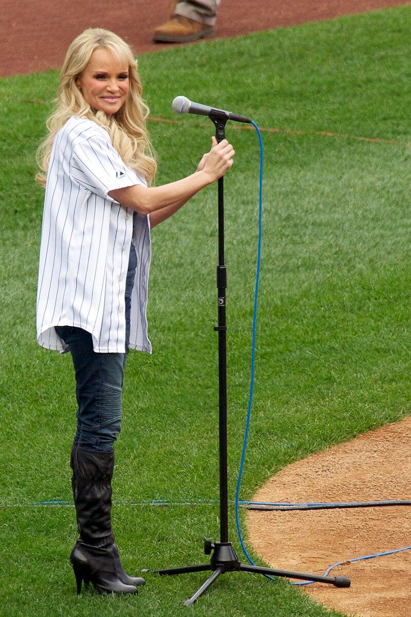 Kristin Chenoweth singing National Anthem at Yankee Stadium.jpg