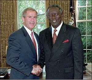 Foreign relations of the African Union - George W. Bush greets John Agyekum Kufuor, Chairman of the African Union, in the Oval Office June 28, 2001. White House photo by Eric Draper.