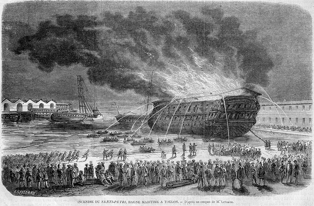 L'Illustration 1862 gravure Incendie du Santi-Petri, Bagne maritime de Toulon