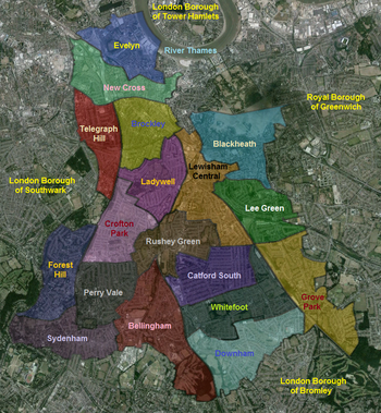 A map of the wards within the London Borough of Lewisham