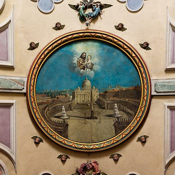 La basilique Saint-Pierre de Rome par Guillaume Fouace, au plafond de de l'église Notre-Dame de Montfarville (France).