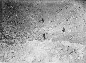 179th Tunnelling Company - Image: La Boisselle mine crater Aug 1916 IWM Q 912