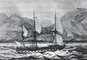 European and American voyages of scientific exploration - ''La Boudeuse'' arriving in Matavai in 1767