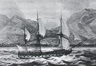 European and American voyages of scientific exploration - La Boudeuse arriving in Matavai in 1767