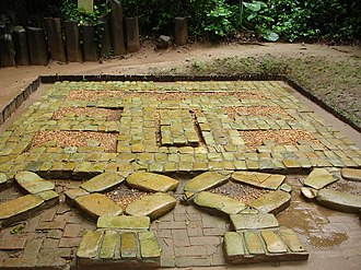 La Venta - One of the three buried Mosaics or Pavements from La Venta, consisting of nearly 500 blocks of serpentine.