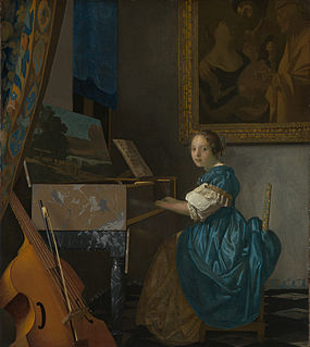 <i>Lady Seated at a Virginal</i> painting by Johannes Vermeer