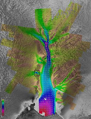 Lambert Glacier - This NASA image showing glacier velocities on the Lambert Glacier has a box  location of the area shown in the other photograph