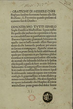Cristoforo Landino - Orazione alla Signoria fiorentina