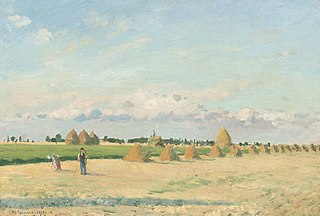 Open Fields with Haystacks near Pontoise