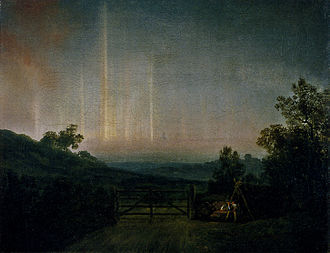 Danish art - Landscape with Northern Lights - Attempt to Paint the Aurora Borealis, 1790s, by Jens Juel.