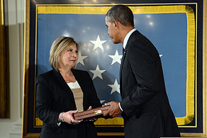 Leonard M. Kravitz -  Leonard M. Kravitz's niece Laurie Wegner accepted the Medal of Honor on her uncle's behalf, from President Barack Obama in a March 18, 2014 White House ceremony.