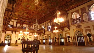 Laxmi Vilas Palace, Vadodara - Darbar hall featuring the Ornate artwork