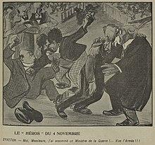 Desenho monocromático do punho na casa;  O general André, em primeiro plano, apóia-se em outro parlamentar, enquanto Syveton fica atrás, parecendo satisfeito, de braços cruzados.