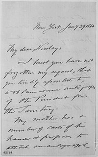 Letter from Col. Leavitt Hunt to John George Nicolay requesting documents with Abraham Lincoln's signature.[13]