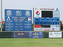 A The scoreboard, brag board and championship years in left center field