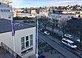 Leirvik, Stord, Norway, seen from Grand Hotell. Harbour, Samson på Kaien, Oma Slipp Sjøhuset, Bytunet, cars in Osen, etc. 2018-03-10 a.jpg