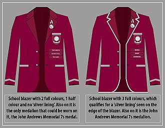 Lenana School - Illustration showing the basic student school blazer on the left and Silver Lined Blazer with the 3 colours required to attain a silver lining on the right.