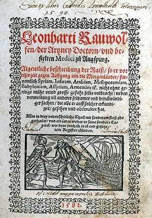 Leonhard Rauwolf - The front page of Rauwolff's travel book dated 1582