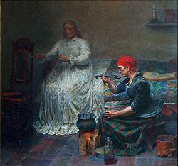 Kristian Zahrtmann: Leonora Christina i Blåtårn Kvinde laver sig et øllebrød
