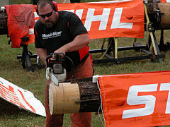 Fastest double cut chainsaw contest