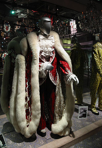 Liberace - Liberace's early-1980s Christmas costume, worn at the Las Vegas Hilton and Radio City Music Hall: Designed by Michael Travis, with fur design by Anna Nateece, the costume was one of many at the Liberace Museum.