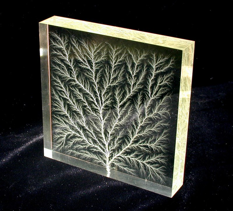 Lichtenberg figure in block of Plexiglas