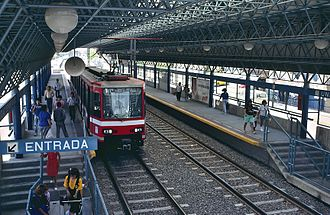 Light rail in North America - Light rail car at Unidad Deportiva station in Guadalajara, the 2nd busiest LRT system in North America