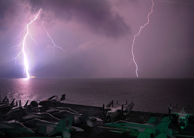 File:Lightning flashes as the aircraft carrier USS Abraham Lincoln (CVN 72) transits the Strait of Malacca.jpg