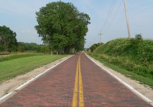Lincoln Highway (Omaha) - Brick-paved section of Lincoln Highway in West Omaha near Elkhorn.